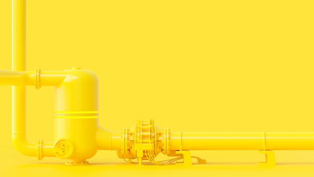 Gele pijpleiding, minimaal en energieconcept. 3d-weergave.