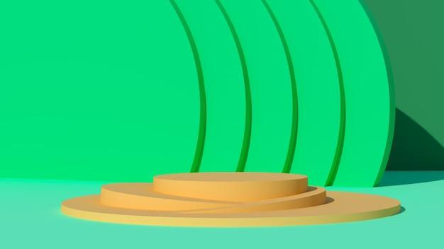 Gele podia op een groene achtergrond 3d render
