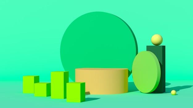 Gele podia op een groene achtergrond en geometrische figuren. 3d render