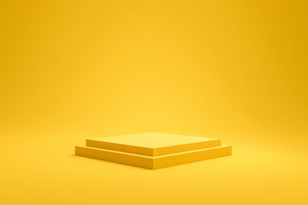 Gele podiumplank of lege voetstukvertoning op de levendige achtergrond van de manierzomer met minimale stijl. lege standaard voor het tonen van product. 3d-weergave