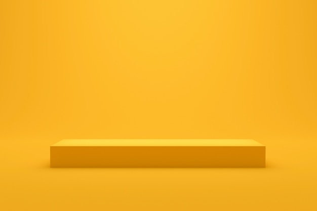 Gele podiumplankvertoning op levendige de zomerachtergrond met minimale stijl. lege standaard voor het tonen van product. 3d-weergave