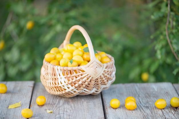Gele pruim in mand op houten tafel buiten