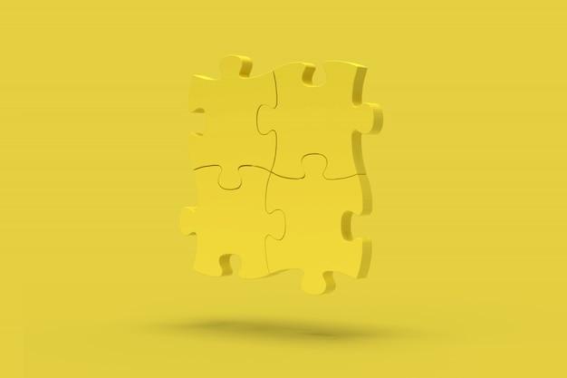 Gele puzzel op een gele achtergrond