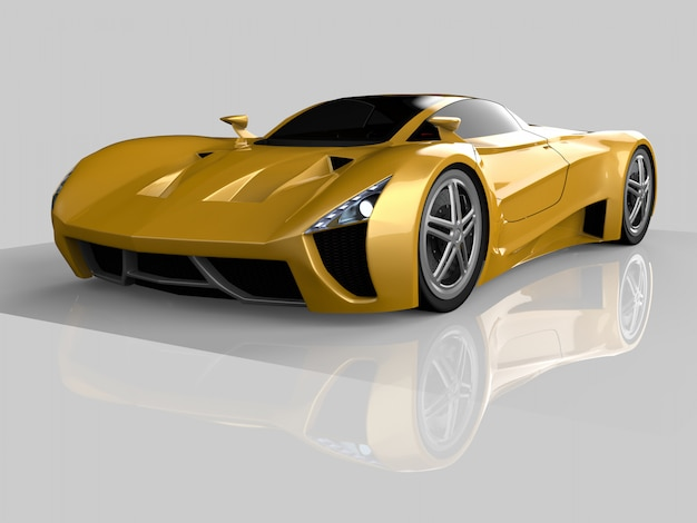 Gele race concept auto. afbeelding van een auto op een grijze glanzende achtergrond