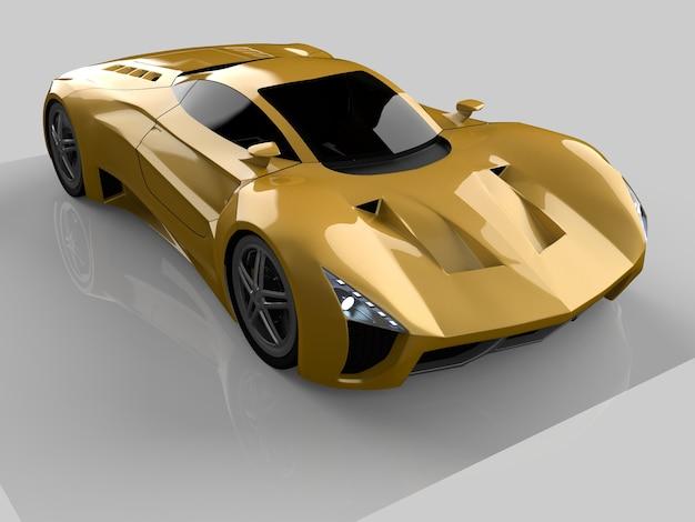 Gele race-conceptauto. afbeelding van een auto op een grijze glanzende achtergrond. 3d-rendering.