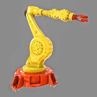 Gele robotarm voor elk werk in een fabriek of productie. mechatronische apparatuur voor complexe taken. 3d illustratie.