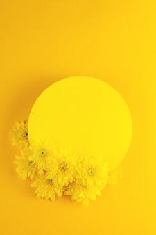 Gele ronde frame oppervlak met chrysant bloemen op een heldere gele achtergrond bovenaanzicht lay-out met kopie ruimte