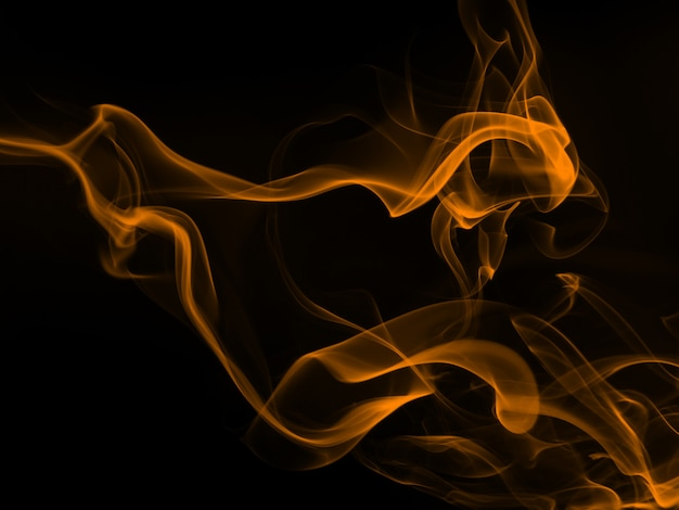 Gele rooksamenvatting op zwarte achtergrond, brandontwerp