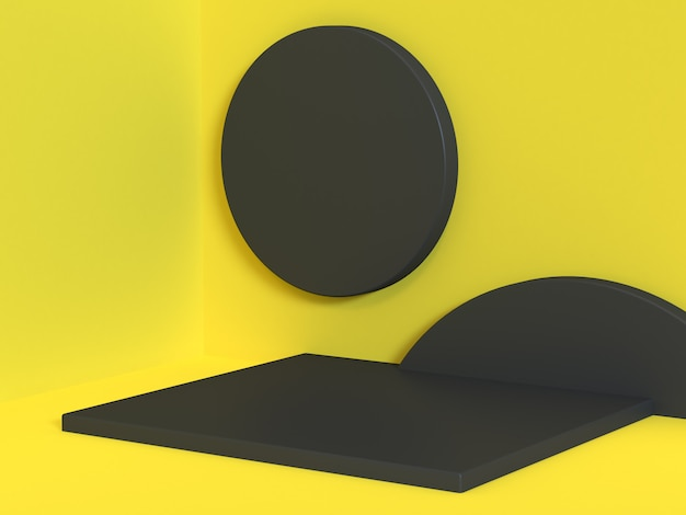 Gele scène hoek muur vloer zwarte geometrische vorm cirkel vierkant minimaal geel abstract 3d-rendering