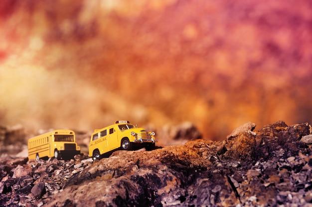 Gele schoolbus (speelgoedmodel) die de landweg, gestemde kleur kruisen.