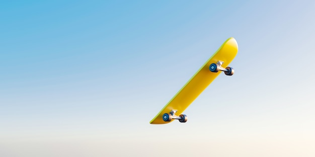 Gele skateboard of schaatsen surfplank springen op hemelachtergrond met extreme sporten. 3d-weergave.