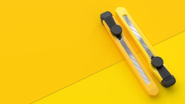 Gele snijder op papier
