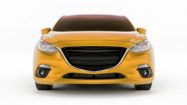 Gele stadsauto met blanco oppervlak voor uw creatieve ontwerp. 3d-weergave.