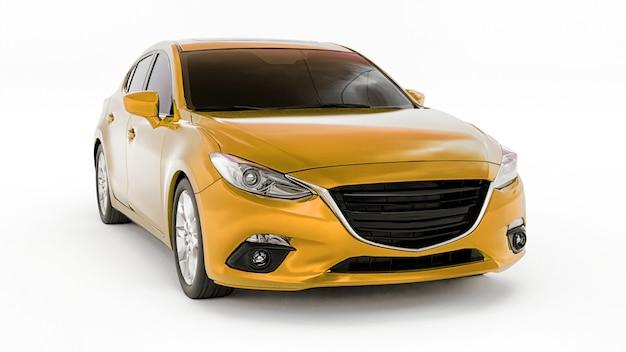 Gele stadsauto met blanco oppervlak voor uw creatieve ontwerp. 3d-weergave. Premium Foto