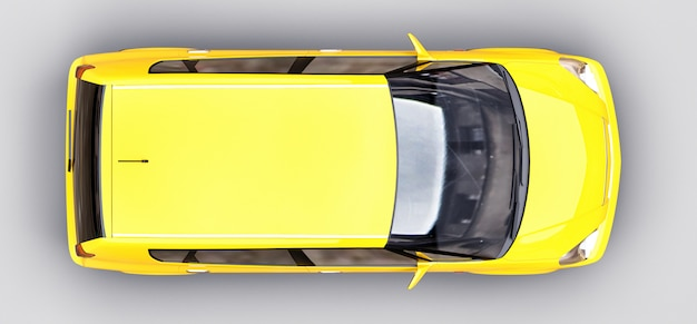 Gele stadsauto met glanzend oppervlak