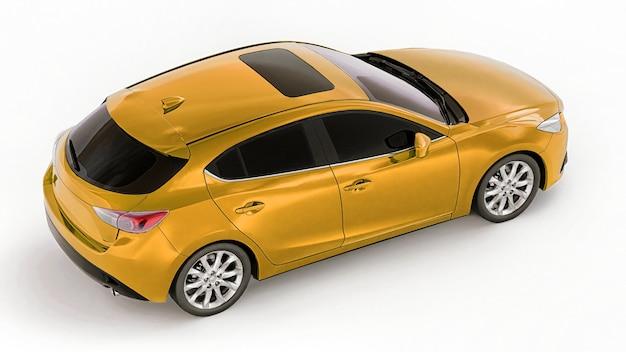 Gele stadsauto met leeg oppervlak voor uw creatieve ontwerp 3d-rendering