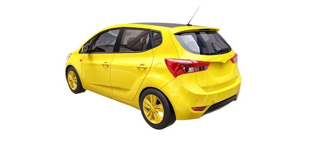 Gele stadsauto met leeg oppervlak voor uw creatieve ontwerp