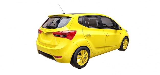 Gele stadsauto met lege oppervlakte
