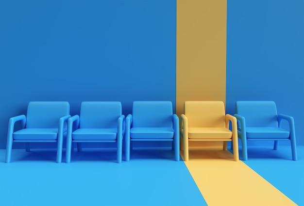 Gele stoel die zich onderscheidt van de menigte. bedrijfsconcept. 3d-rendering ontwerp.