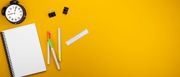 Gele studietafel met briefpapier klok en kopieer ruimte 3d-rendering 3d illustratie bovenaanzicht