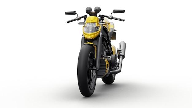 Gele super sportmotor op witte achtergrond. 3d illustratie.