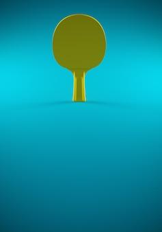 Gele tafeltennis of pingpongracket op een blauwe tafel. 3d-afbeelding. affiche voor toernooi met kopie ruimte.