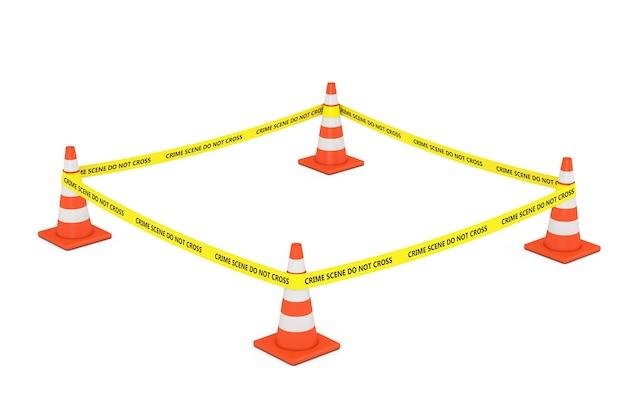 Gele tape overschrijdt de politielijn niet met wegkegels op een witte achtergrond. 3d-rendering