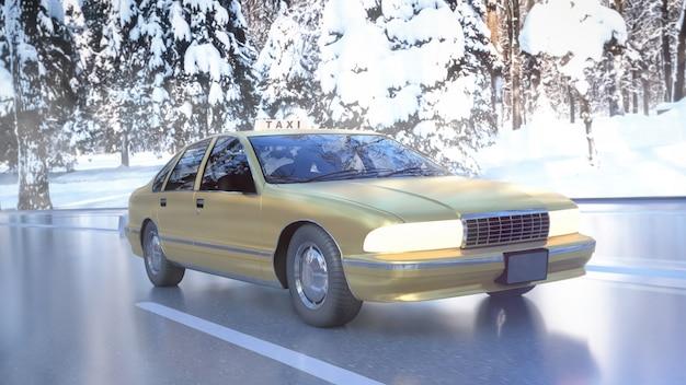 Gele taxi op de weg met sneeuw in de winter. 3d-weergave