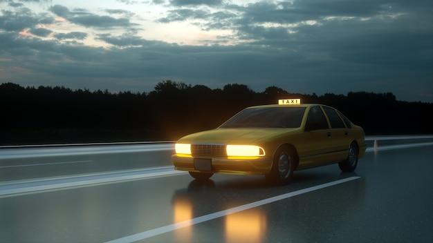 Gele taxi rijdt op de snelweg