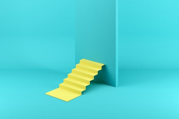 Gele trap geblokkeerd door een blauwe muur geïsoleerd op blauw