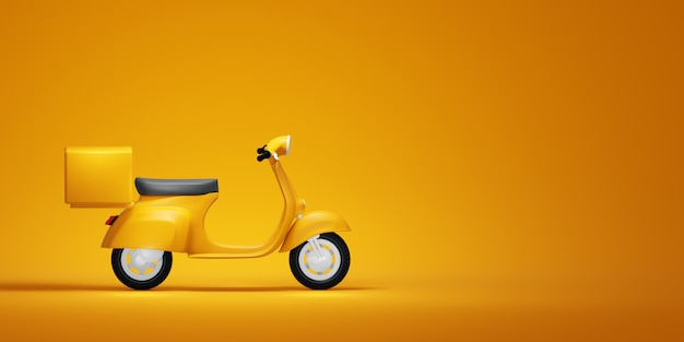 Gele vintage scooter, 3d illustratie