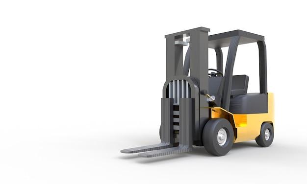 Gele vorkheftruck met lege vork parkeren op witte achtergrond. transport en industrieel concept. kopieer ruimte