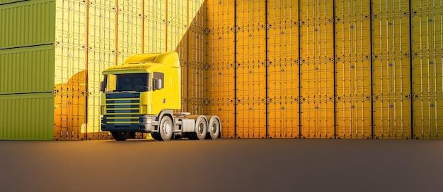 Gele vrachtwagen met veel stapels containers eromheen