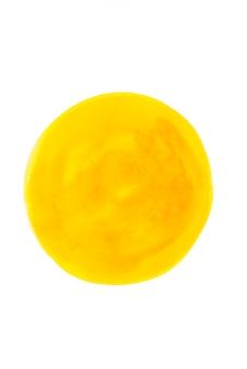 Gele waterverfcirkel op witboek