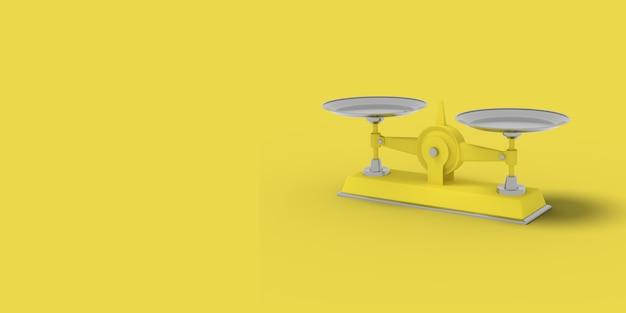 Gele weegschaal op een gele achtergrond. abstract beeld. minimaal conceptbedrijf. 3d renderen.