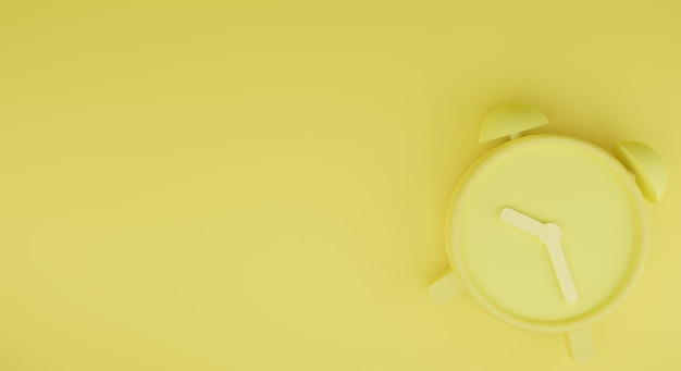 Gele wekker 3d-rendering met gele achtergrond