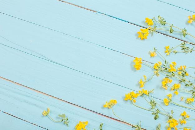 Gele wilde bloemen op blauwe houten oppervlak