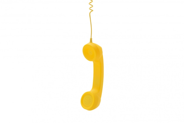 Gele zaktelefoon die op wit wordt geïsoleerd.