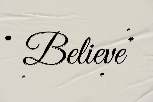 Geloof woord in inktkalligrafiestijl