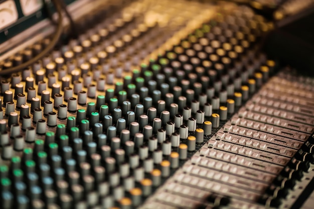 Geluid muziek mixer bedieningspaneel