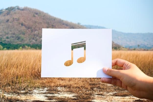 Geluid van muziek geperforeerde paer muzieknoot