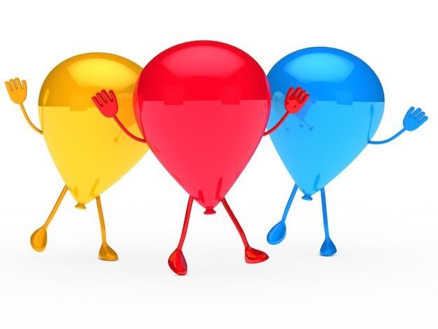 Gelukkig ballonnen dansen