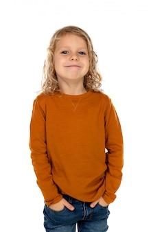 Gelukkig blond kind met lang haar