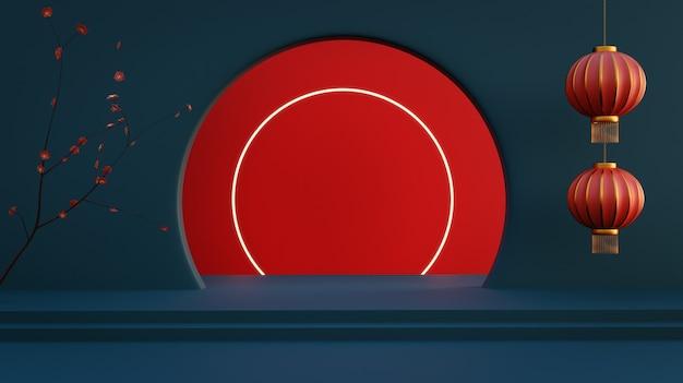 Gelukkig chinees nieuwjaar ontwerp achtergrond voor banners, poster, wenskaart en brochure. fotorealistische 3d-weergave.