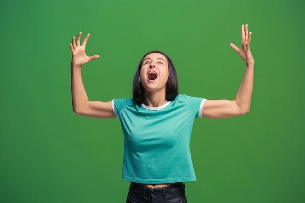 Gelukkig extatische vrouw vieren als winnaar