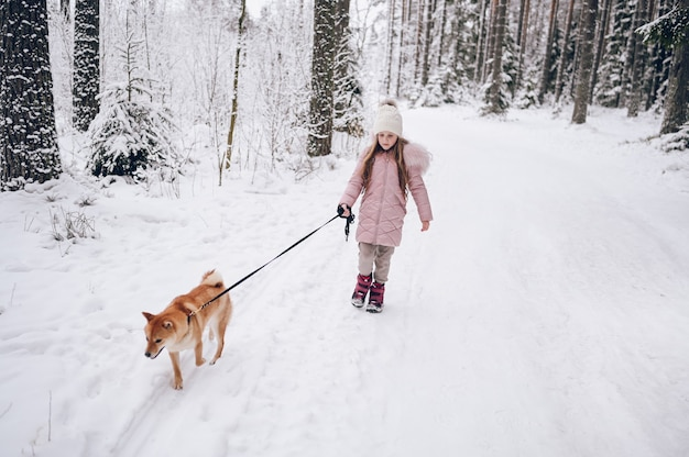 Gelukkig familieweekend - klein schattig meisje in roze warme uitloper wandelen met plezier met rode shiba inu hond in besneeuwde witte koude winter forest buitenshuis