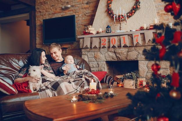 Gelukkig gezin met een baby en een hond en naast hem een schoorsteen met de poster van 2017