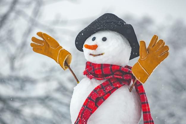 Gelukkig grappige sneeuwman in de sneeuw sneeuwman in winterhoed sneeuwman openlucht grappige sneeuwmannen cute