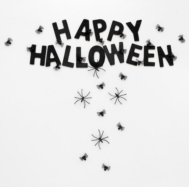 Gelukkig halloween-concept met spinnen