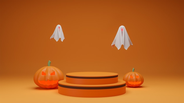 Gelukkig halloween, de presentatiepodium van het conceptenproduct met oranje de toonachtergrond van het pompoenspook.